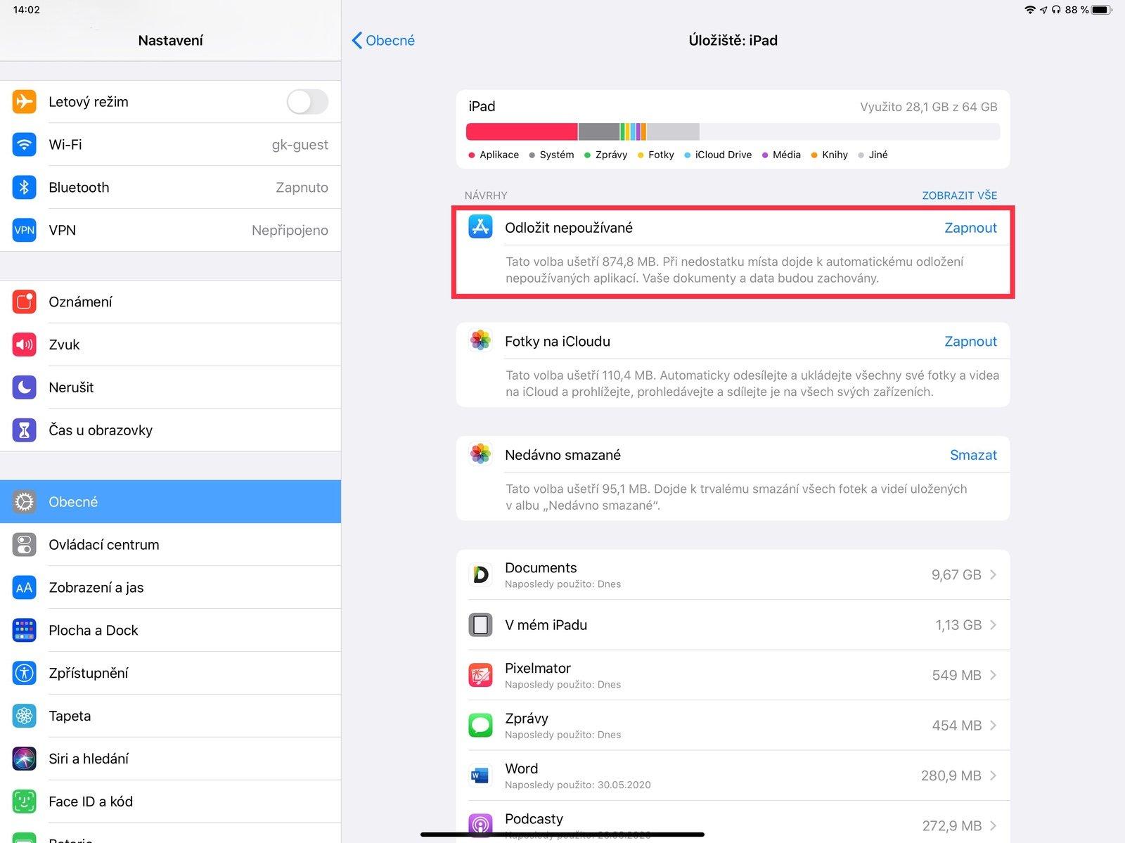 Odstranění nepoužívaných aplikací na iPadu