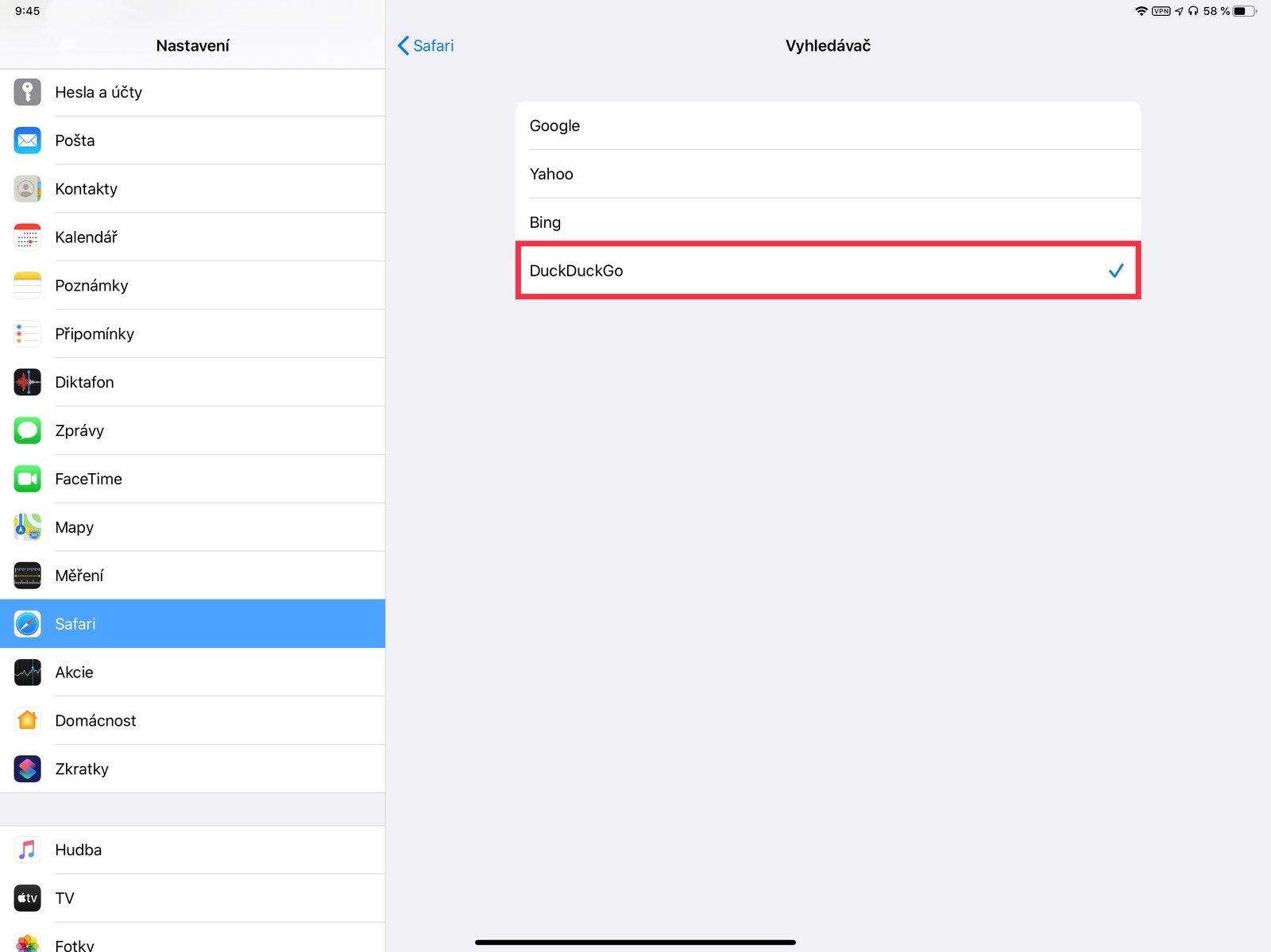 Výběr výchozího vyhledávače na iPadu
