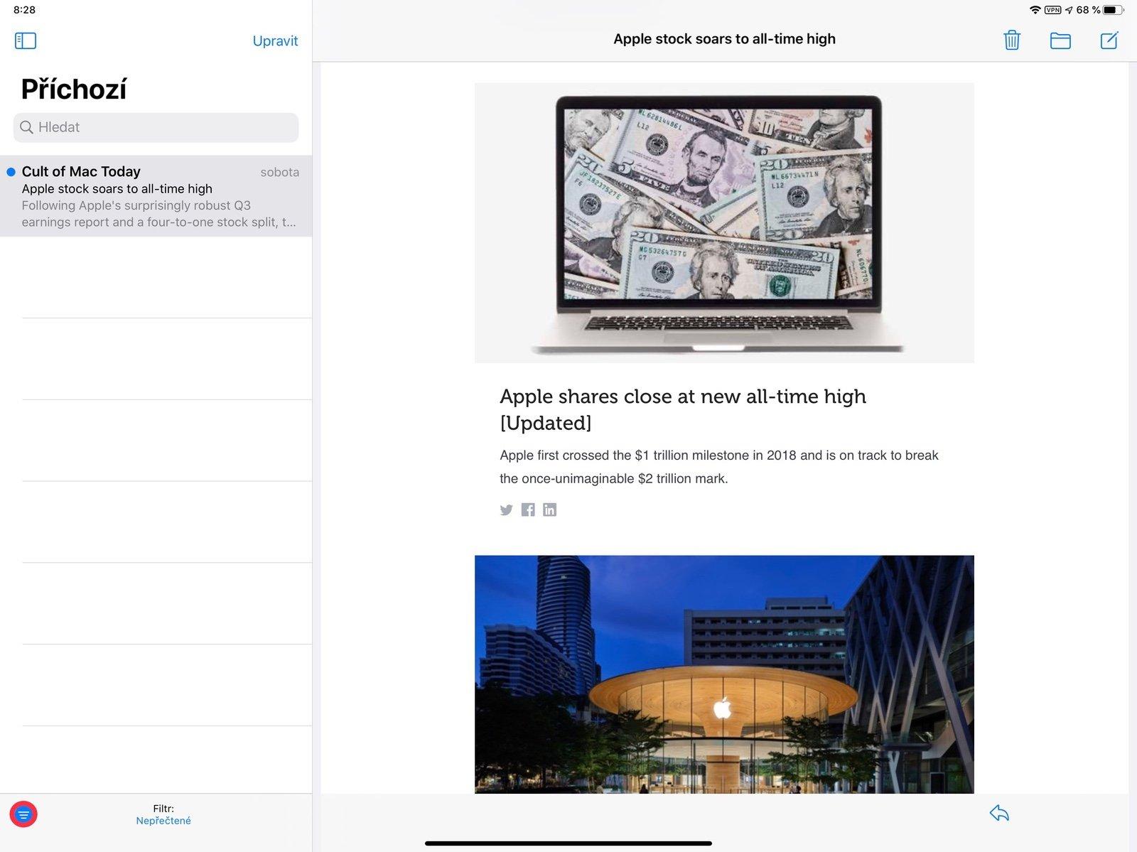 Zobrazení nepřečtených e-mailů na iPadu