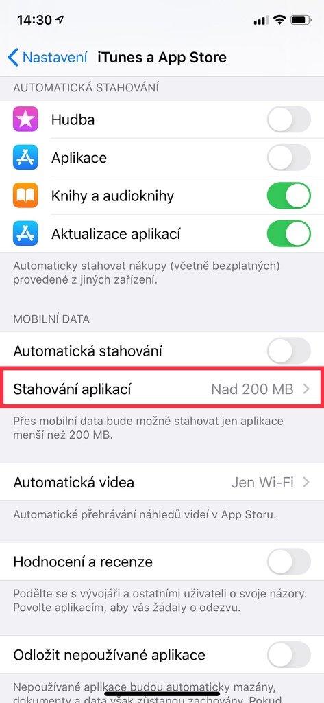 Nastavení iTunes a App Store na iPhone