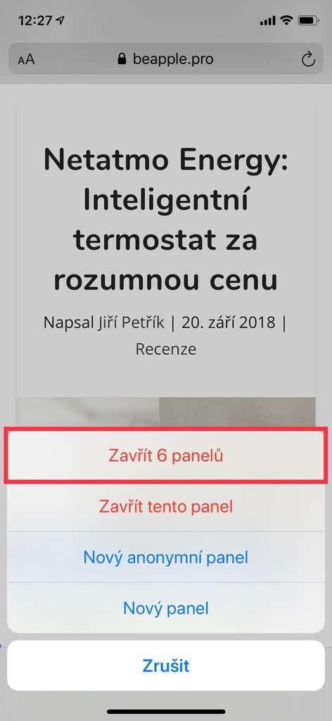Zavření všech otevřených panelů v Safari na iPhone