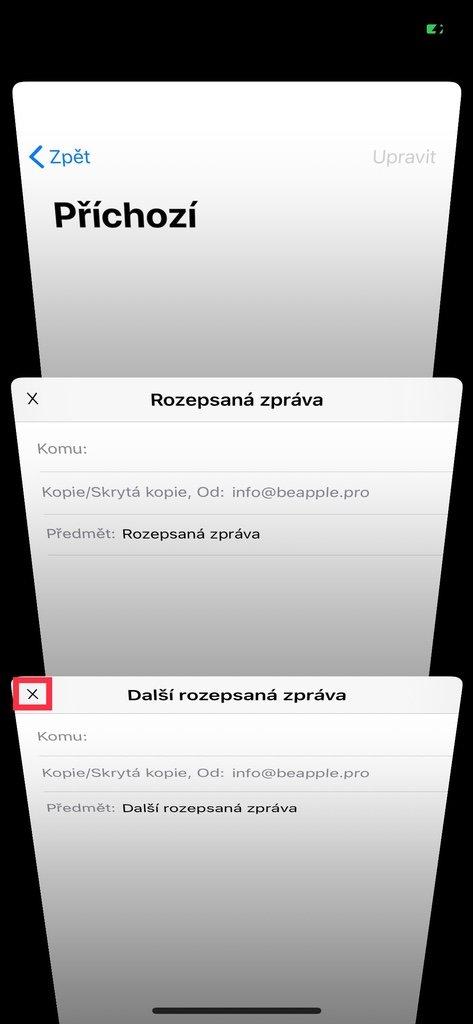 Seznam rozepsaných e-mailů na iPhone