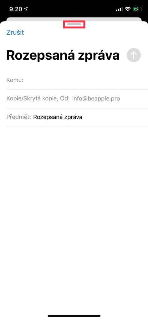 Rozepsaný e-mail na iPhone
