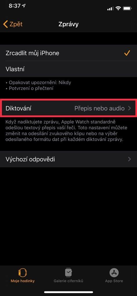 Menu zprávy v aplikaci Watch na iPhone