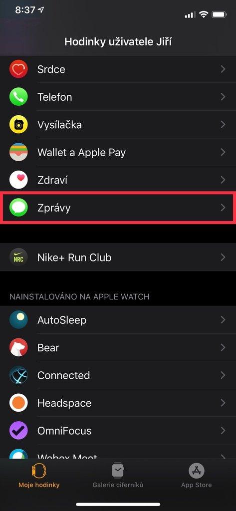 Aplikace Watch na iPhone