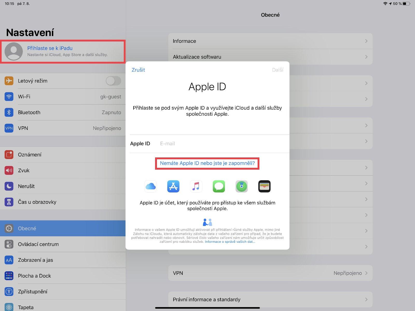 Vytvoření nového Apple ID na iPadu