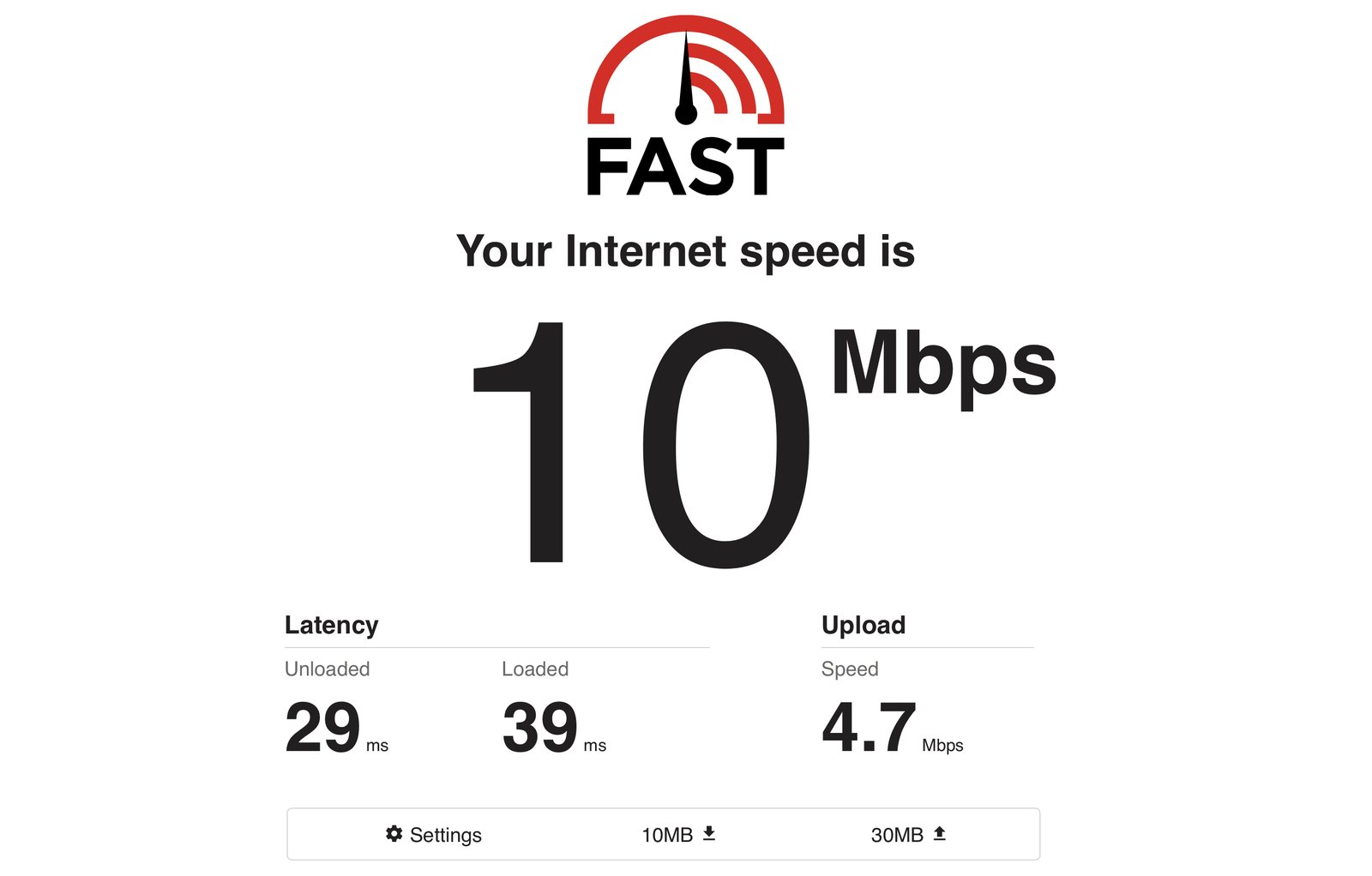 Speed Test Fast.com
